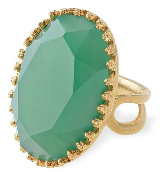 Large Green Stone & Gold Cocktail Ring