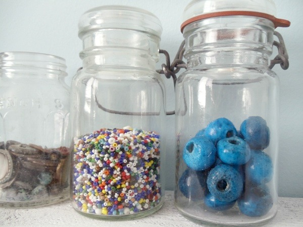 Workspaces That Inspire: Vintage Bead Storage Jars