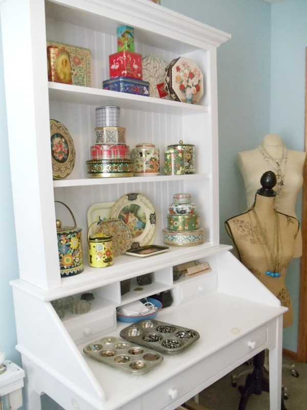 Workspaces That Inspire: Renee's vintage tin collection in white painted hutch