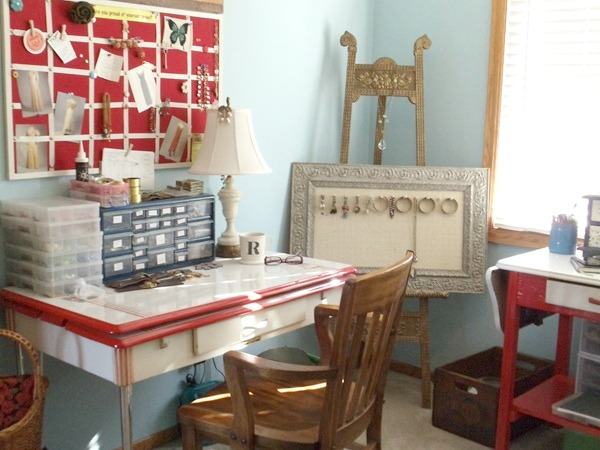 Renee's inspiration board and work table | Nostalgic Summer vintage jewelry studio