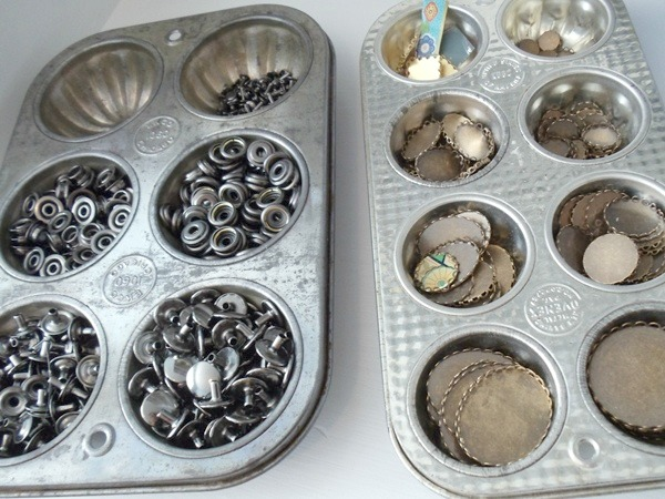 Vintage muffin tins for jewelry supply storage