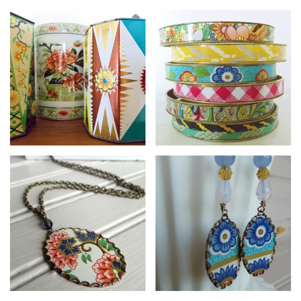 Repurposed Vintage Tin Jewelry Handcrafted by Renee of Nostalgic Summer - Workspaces That Inspire Feature