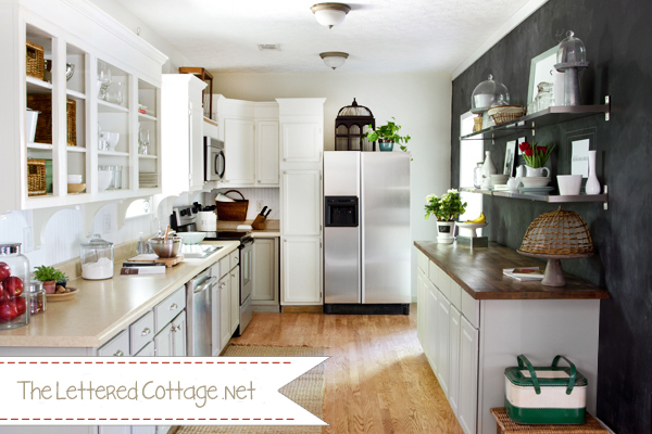 Black Chalkboard Painted Walls in Kitchen | The Lettered Cottage