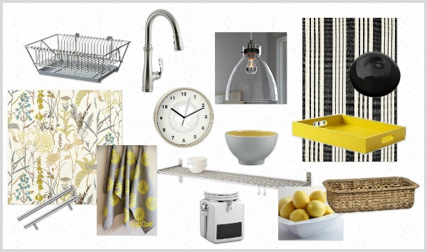Refresh My Nest Kitchen Update - Black, White and Yellow Industrial Kitchen Mood Board