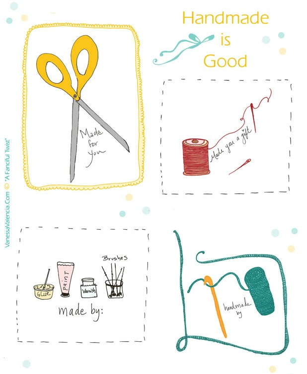 Handmade is Good Printable Gift Tags - A Fanciful Twist