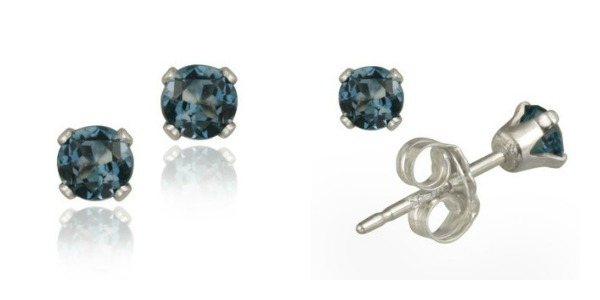 Genuine London Blue Topaz Earrings