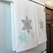Snowflake Printed Tea Towels