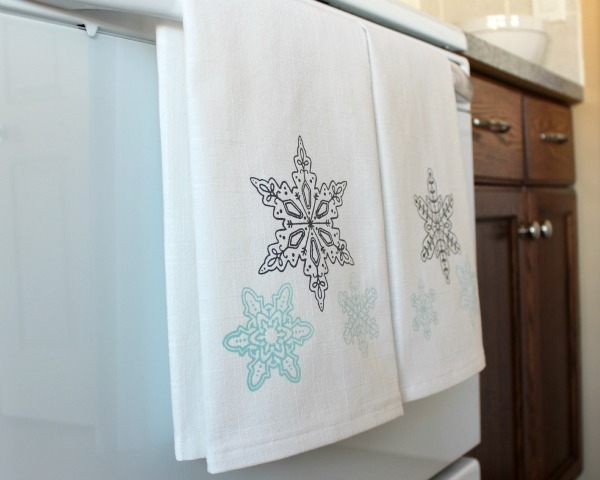 DIY snowflake printed tea towels