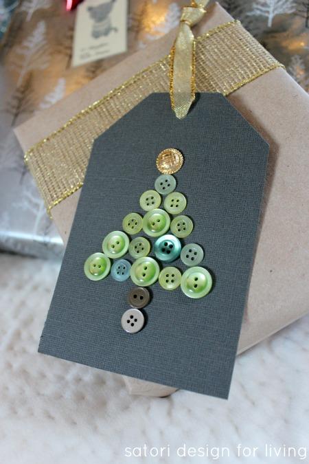 Christmas Tree Button Handmade Gift Tag