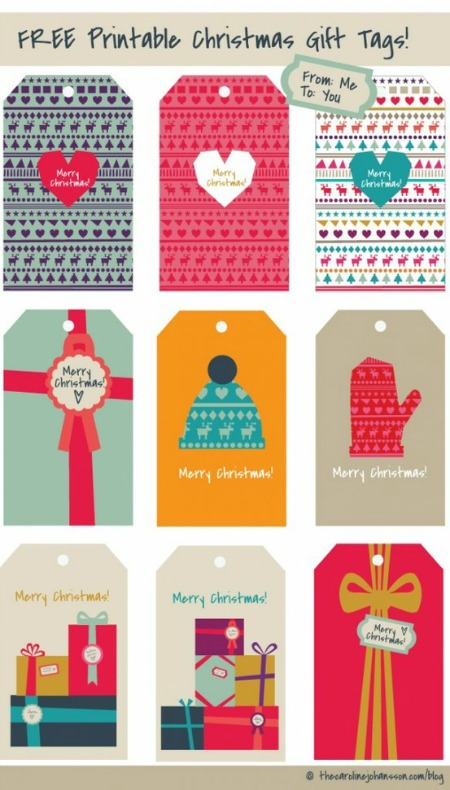 Colorful Free Christmas Gift Tag Printables - The Caroline Johansson