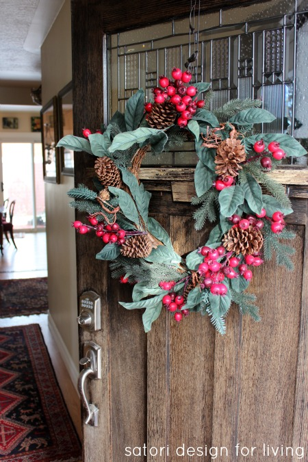 Christmas House Tour- Berry, Pine Cone and Evergreen Wreath on Front Door