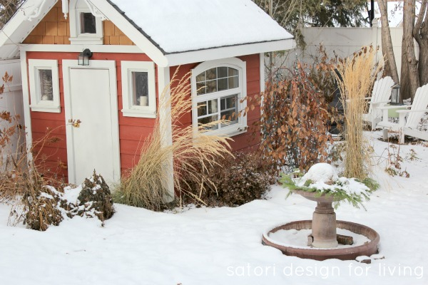 Christmas House Tour- Red and White Storage Shed