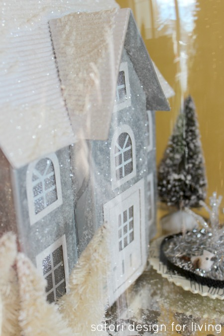 Christmas House Tour- Cloche with Winter Scene