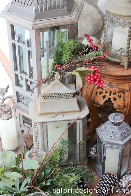 Christmas House Tour- Decorated Back Deck with Lanterns and Greenery