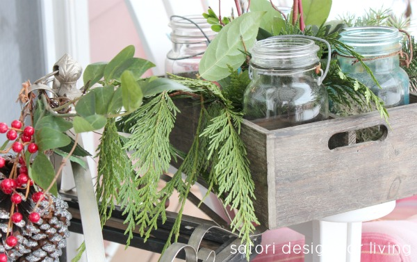 Christmas House Tour- Mason Jars and Greenery