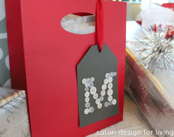 Monogram Button Gift Tag