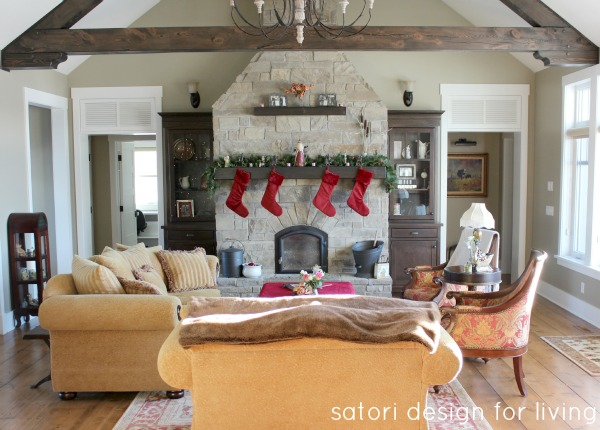 Stone Fireplace with Stockings | Country Christmas House Tour | Satori Design for Living