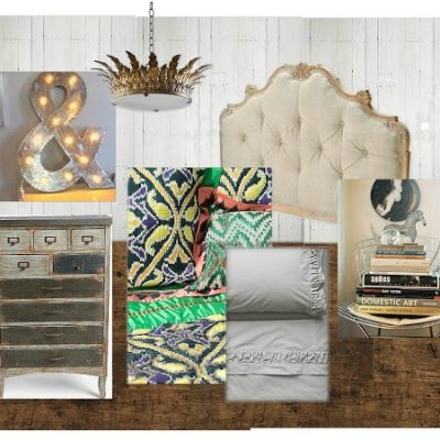 Vintage Inspired Bedroom Mood Board for the Designer Challenge on SatoriDesignforLiving.com