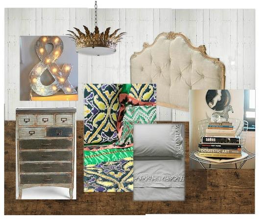 Vintage Inspired Bedroom Mood Board for the Designer Challenge on SatoriDesignforLiving.com