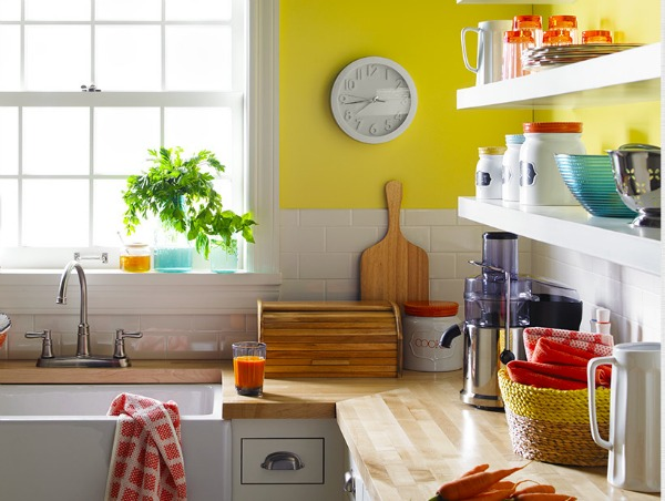 Fun and Lively Yellow and Coral Kitchen
