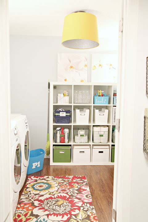 Yellow Drum Shade Lighting in Laundry Room - IHeart Organizing