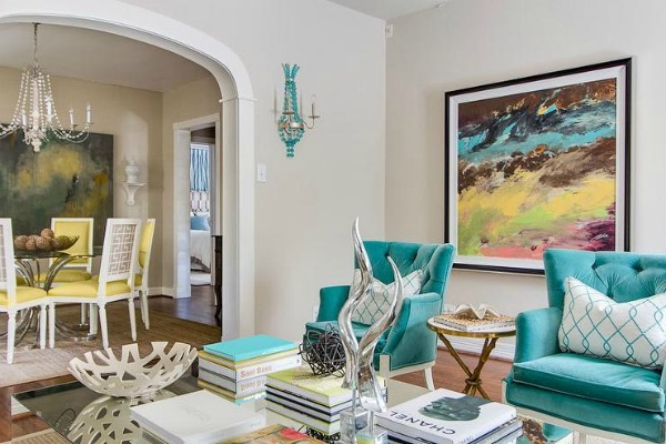 Turquoise Living Room by EJ Interiors