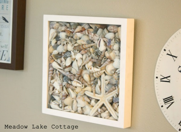 Displaying Vacation Mementos - Sea Shell Shadow Box by Meadow Lake Road