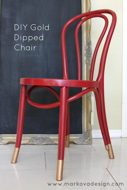 Red Painted Chair With Gold Dipped Legs