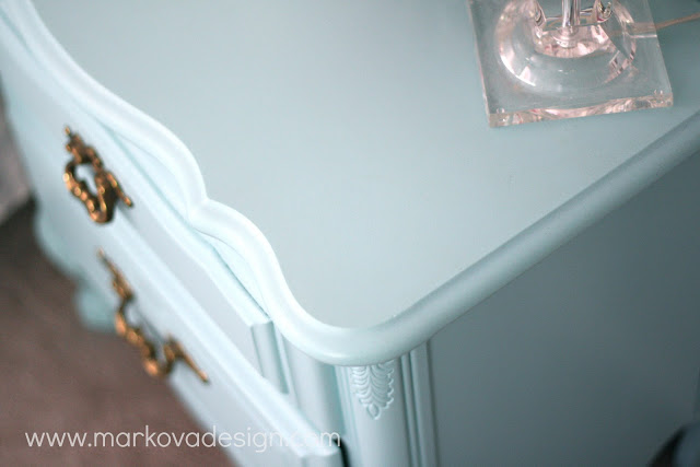 Light Blue Painted Dresser With Brass Hardware