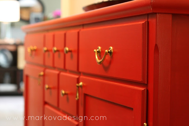 Orange Painted Dresser With Gold Hardware