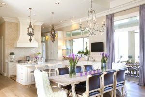 Lilac Drapery in Kitchen - Dodson Interiors