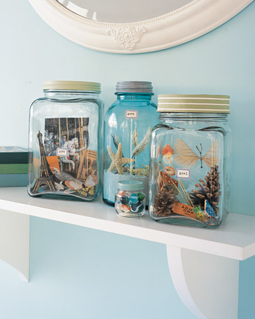 Displaying Vacation Mementos - DIY Vacation Memory Jars by Martha Stewart