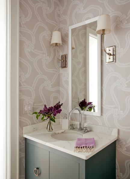 Lilac Wallpaper in Powder Room - Liz Caan Interiors