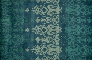 Ikat Blue Ombre Wool Area Rug