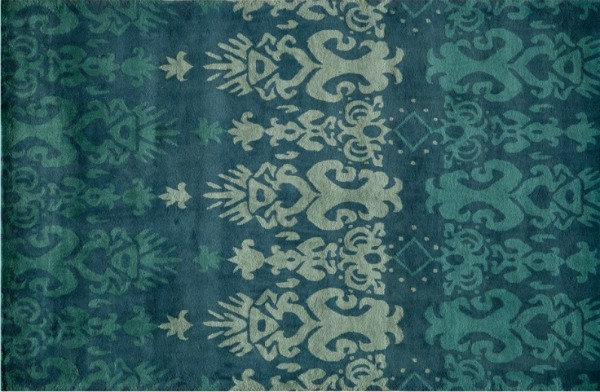 Ikat Blue Turquoise Ombre Wool Area Rug for Entryway