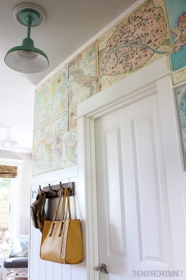 Displaying Vacation Mementos - DIY Map Wallpaper - The Inspired Room
