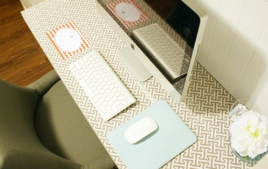 Adding Fabric to a Desk Surface - IHeart Organizing