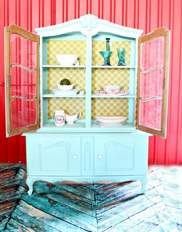 DIY Fabric Backed Hutch - Refunk My Junk