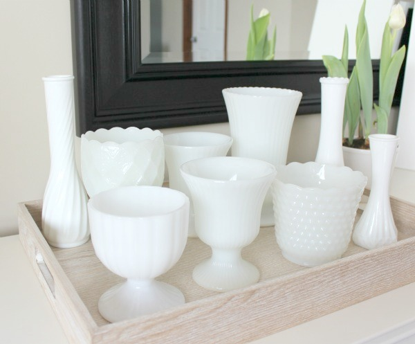 Milk Glass Collection Displayed in Tray - Satori Design for Living