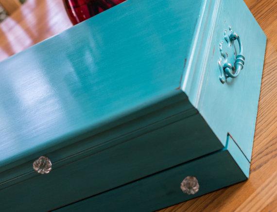 Turquoise Flatware Chest - Jax's Corner on Etsy
