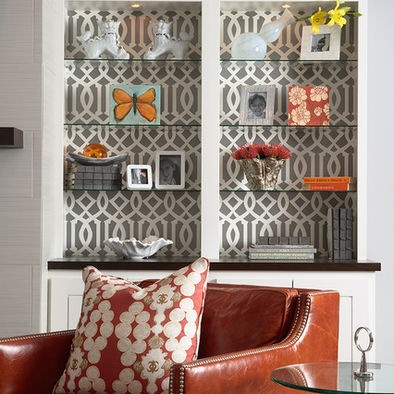 Bookcase Backed With Geometric Wallpaper - Martha O'Hara Interiors