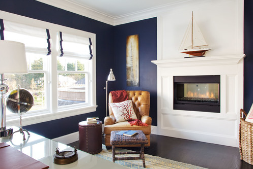 Decorating Crush - Blue and White Office - Garrison Hulinger Interior Design