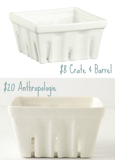 Porelain Farmer's Market Baskets - Price Comparison Between Crate & Barrel and Anthropologie