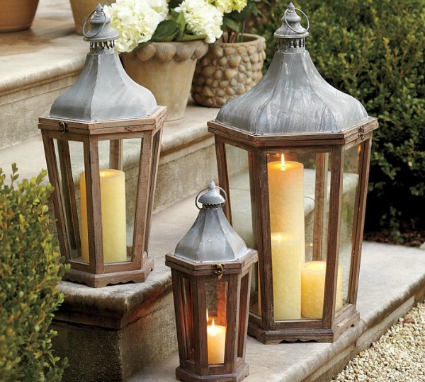 Outdoor Decorating - Grouping Lanterns on Stairs via Pottery Barn