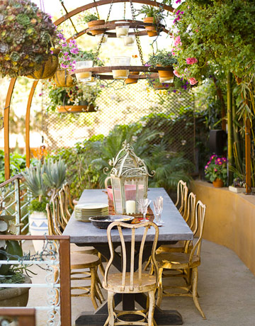 Outdoor Decorating - Lanterns on an Outdoor Dining Table - Sandy Koepke Interior Design