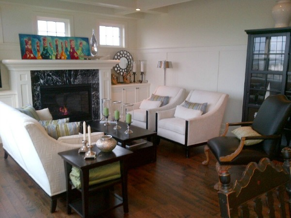 Showhome Tour - White Living Room with Colorful Art on Mantel