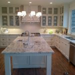 Showhome Tour - Marble and White Kitchen - Chandelier Over Island
