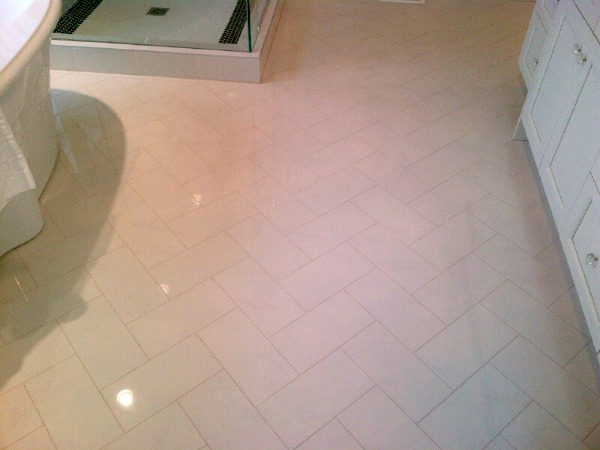 Showhome Tour - Herringbone Marble Floor Master Bathroom
