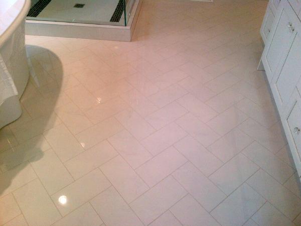 Showhome Tour - Herringbone Marble Floor Master Bathroom