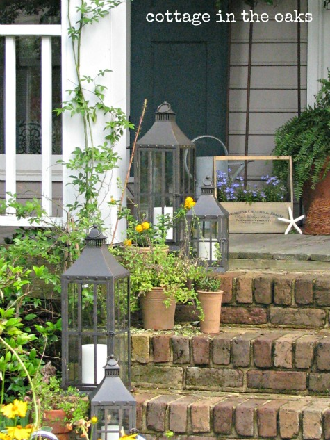 Outdoor Decorating - Front Steps with Lanterns via Cottage in the Oaks